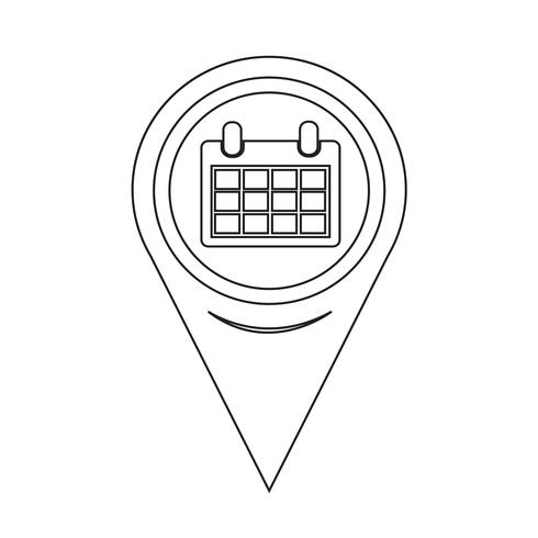 Icona calendario puntatore mappa vettore