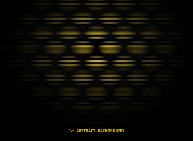 Progettazione astratta del modello di art deco dell'oro su fondo nero. illustrazione vettoriale eps10
