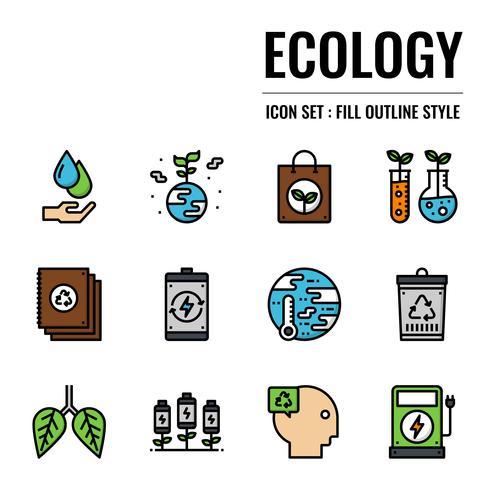 icona di contorno riempito ecologia vettore