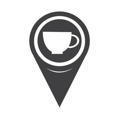 Icona della tazza del puntatore della mappa vettore