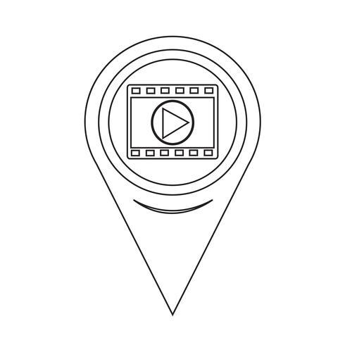 Icona mappa puntatore striscia di pellicola vettore
