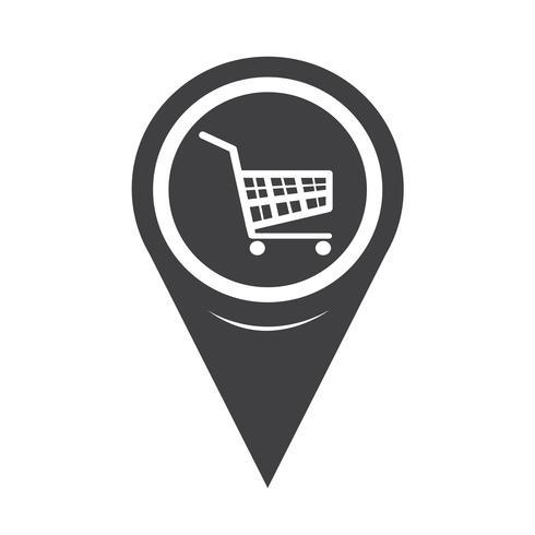 Icona del carrello Shopping puntatore della mappa vettore