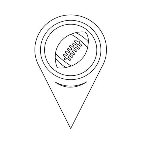 Puntatore della mappa Icona di football americano vettore