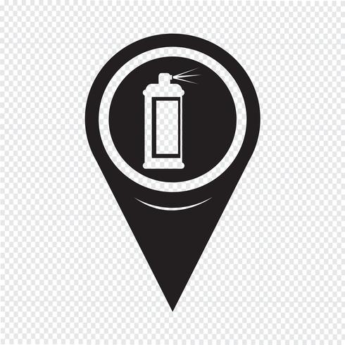 Icona di spruzzo del puntatore della mappa vettore