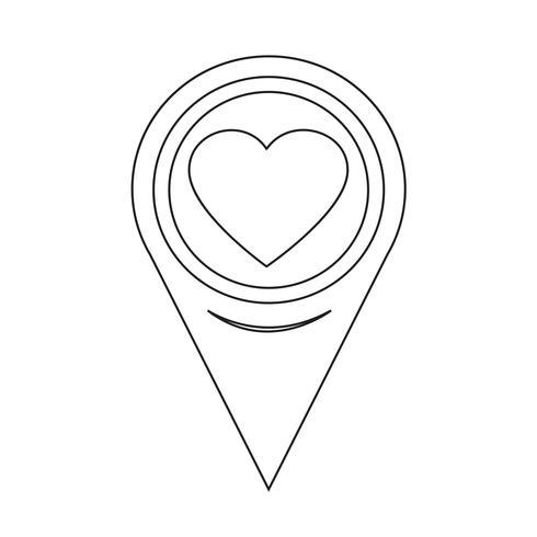 Icona del cuore puntatore mappa vettore
