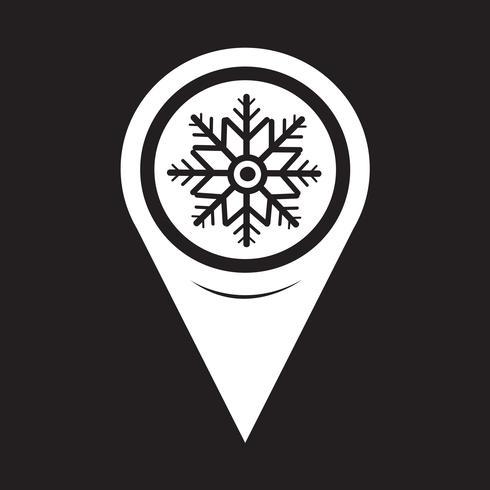 Icona mappa fiocco di neve puntatore vettore