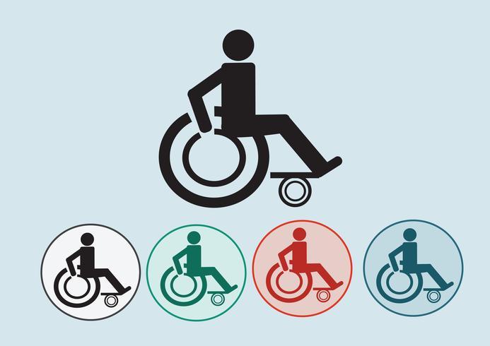 Handicap sedia a rotelle icona design vettore