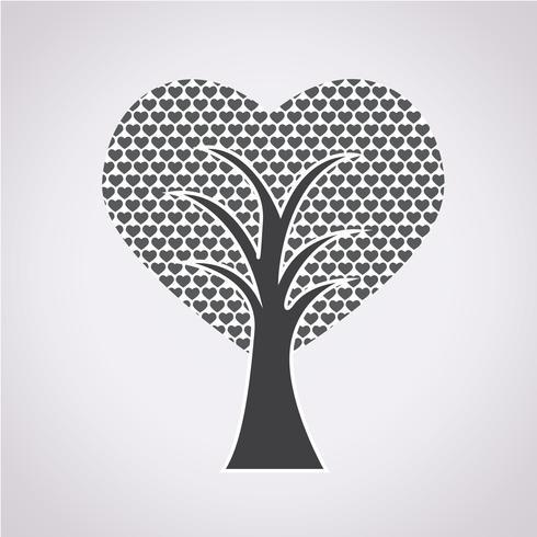 Segno di simbolo dell'albero di amore vettore
