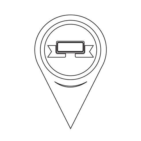 Icona del nastro puntatore della mappa vettore