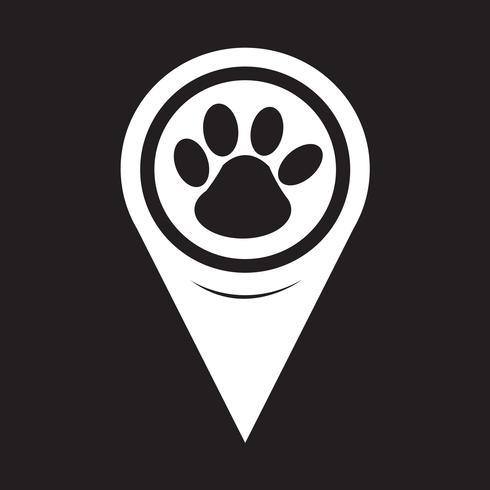 Icona di stampa zampa puntatore mappa vettore