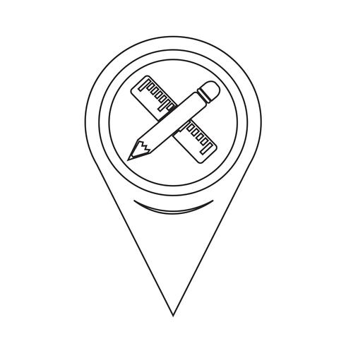 Mappa Puntatore Matita Con Icona Righello vettore