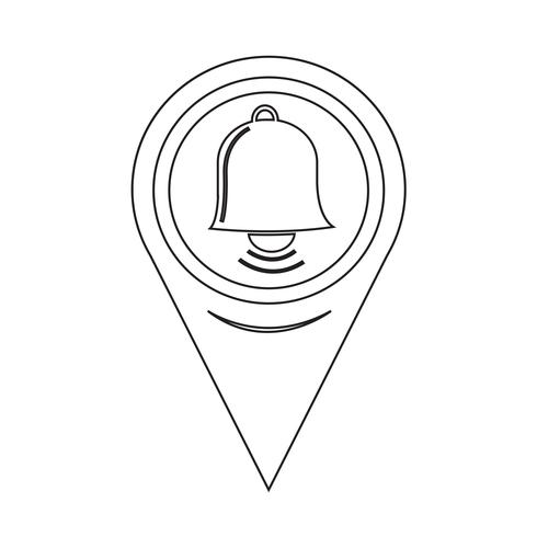 Icona mappa campana puntatore vettore