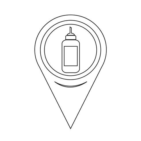 Icona Ketchup puntatore della mappa vettore