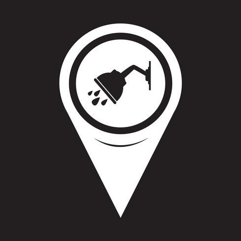 Icona doccia puntatore mappa vettore