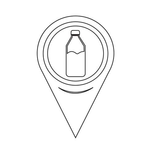 Icona di bottiglia puntatore mappa vettore