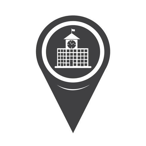 Icona di edificio scolastico puntatore mappa vettore