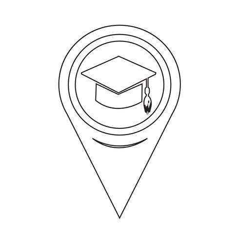 Icona del cappuccio graduazione mappa puntatore vettore
