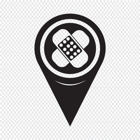 Icona del gesso del puntatore della mappa vettore