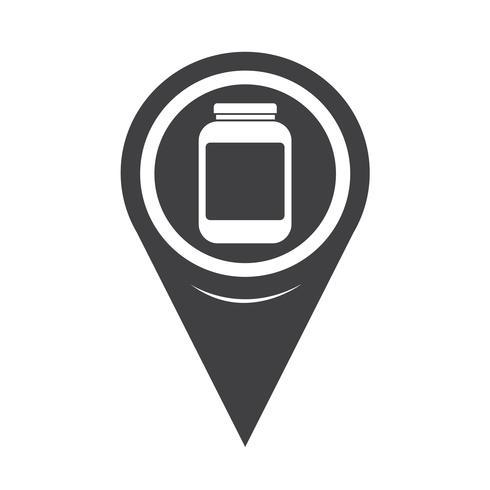 Icona del barattolo puntatore della mappa vettore
