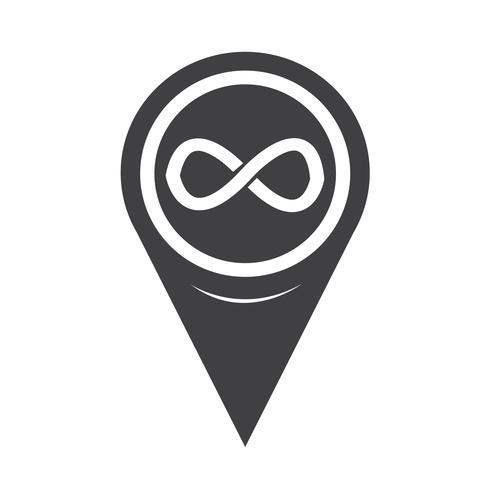 Puntatore della mappa icona simbolo di infinito vettore