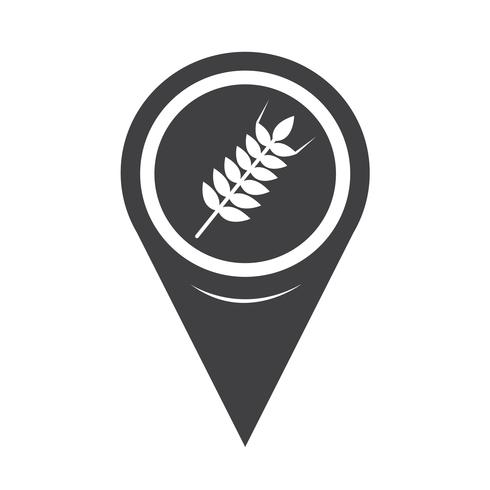 Icona dell'orecchio di grano puntatore mappa vettore