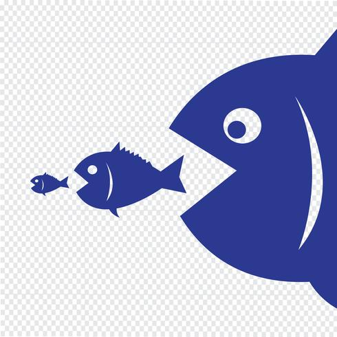 pesce grosso mangia pesce piccolo vettore