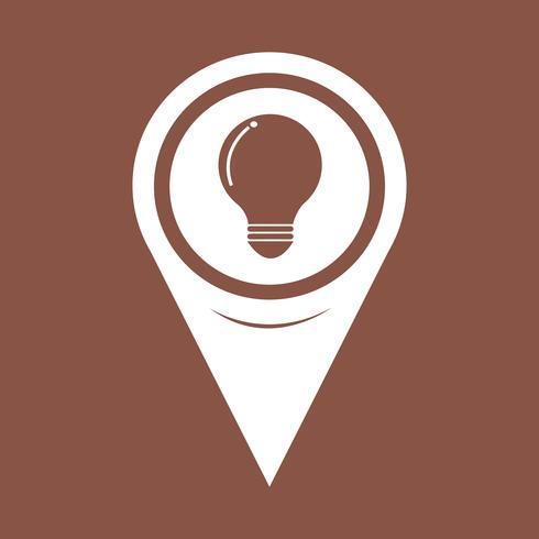 Icona della lampadina del puntatore della mappa vettore