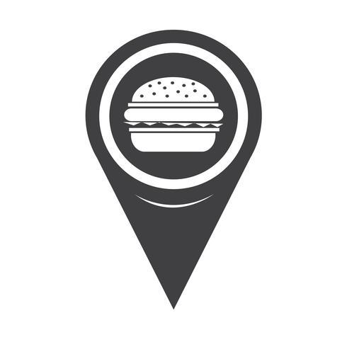 Icona del puntatore della mappa Burger vettore