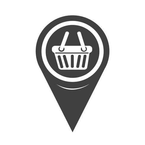 Icona del carrello della spesa puntatore della mappa vettore