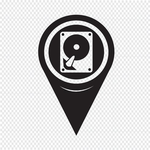 Icona del disco rigido del puntatore della mappa vettore