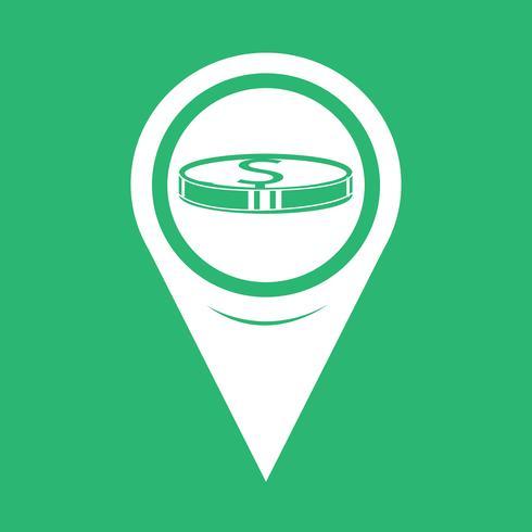 Icona mappa puntatore pin di denaro vettore