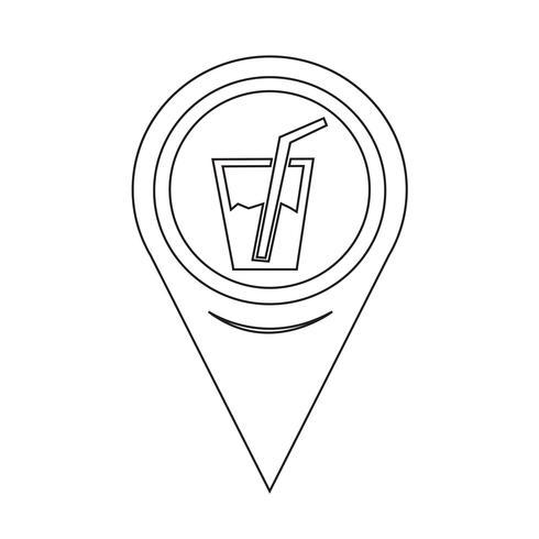 Icona della bevanda del puntatore della mappa vettore