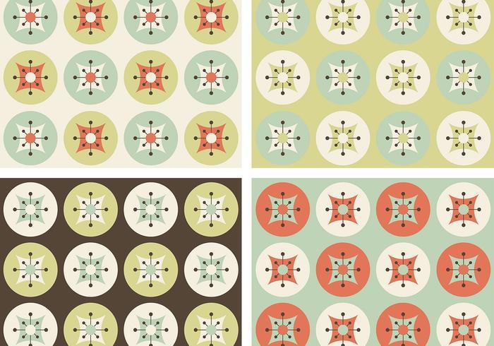 Retro Flowers Vector Patterns