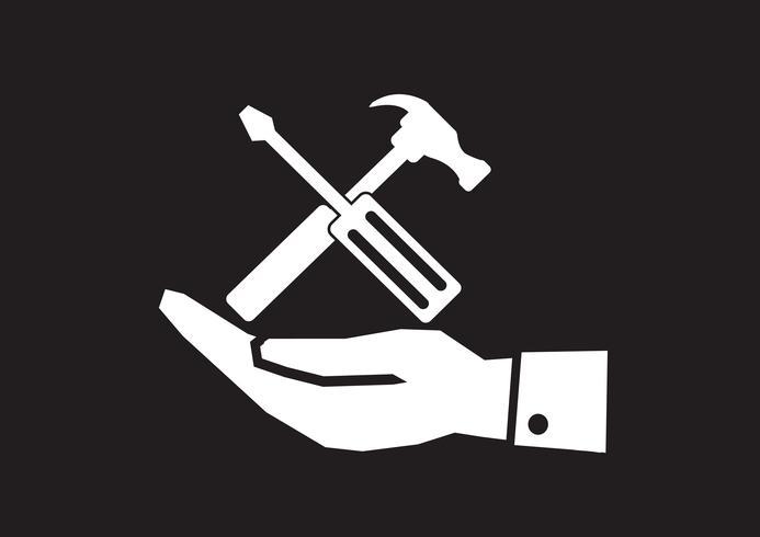 Icona del martello di mano e strumenti vettore