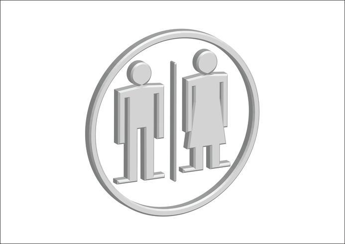 Icone del segno della donna dell'uomo del pittogramma 3D, segno della toilette o icona della toilette vettore