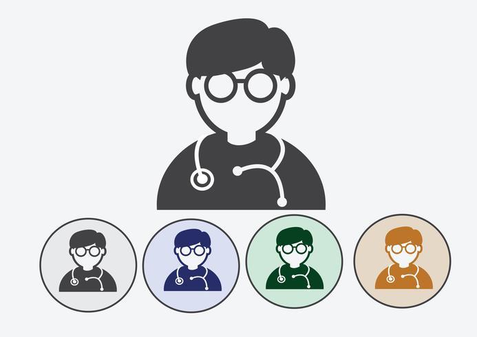 Medico con icona web stetoscopio vettore