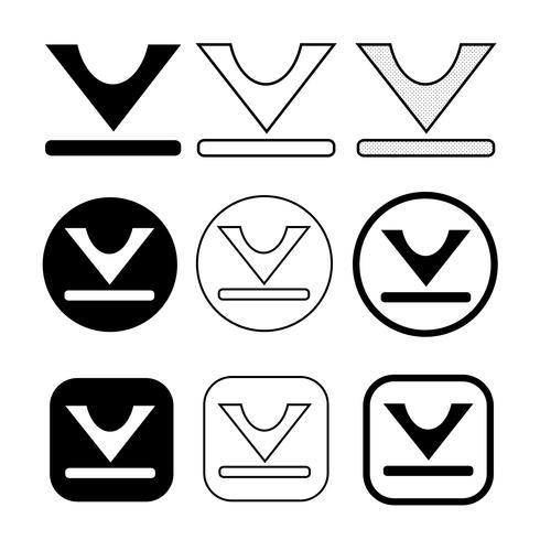 set di icone di download semplice segno vettore