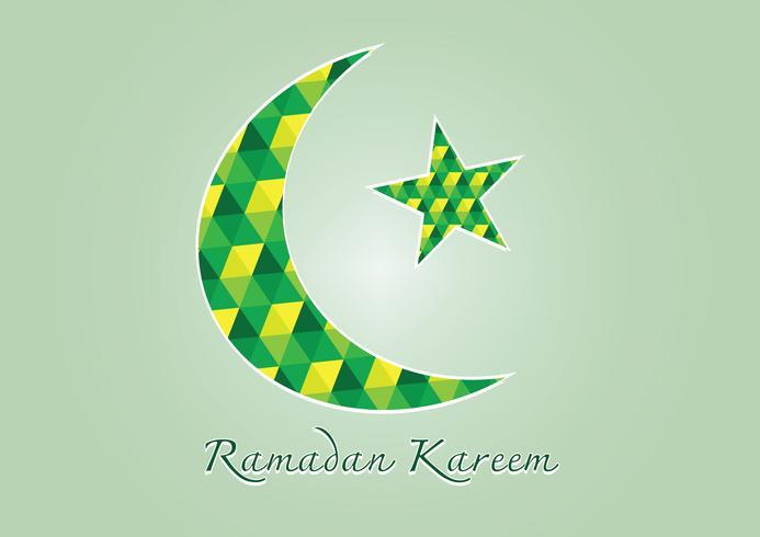 Ramadan Kareem Luna colorata e stella per il mese sacro dei musulmani vettore
