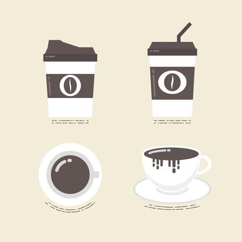 icona del caffè piatto vettore
