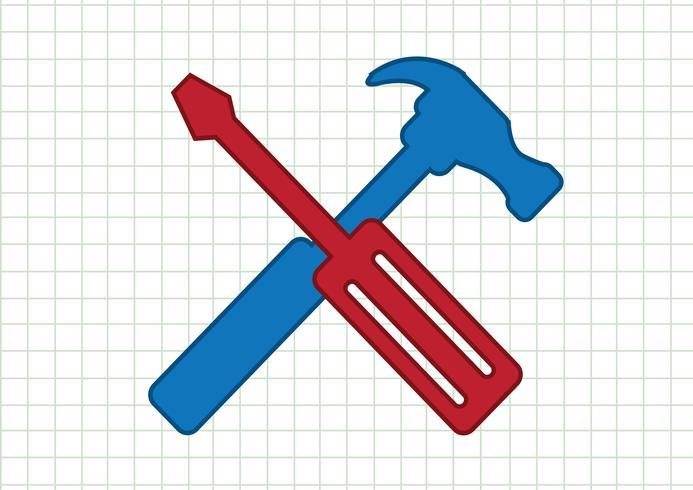 Icona strumenti e martello vettore