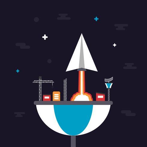 lancio dell'aereo di carta vettore