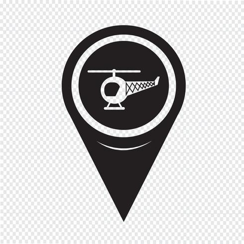 Icona mappa elicottero puntatore vettore