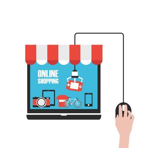 negozio online, scegli con il mouse vettore