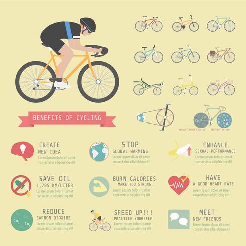infografica sui benefici della bicicletta vettore