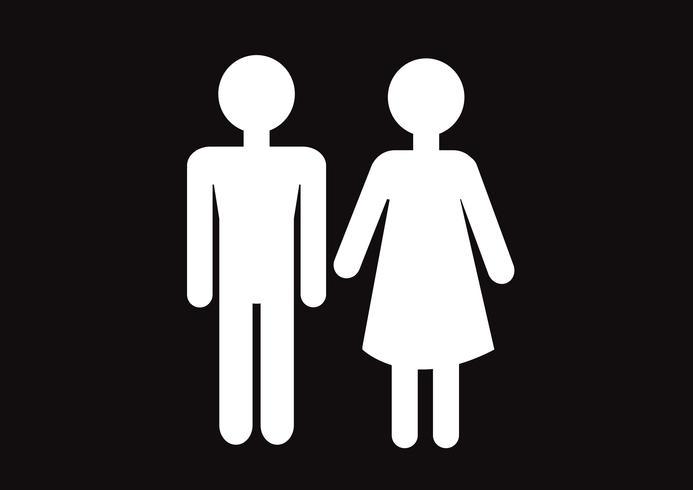 Pittogramma uomo donna segno icone, segno toilette o icona bagno vettore