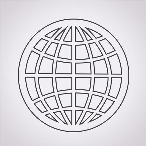 Segno simbolo icona globo vettore