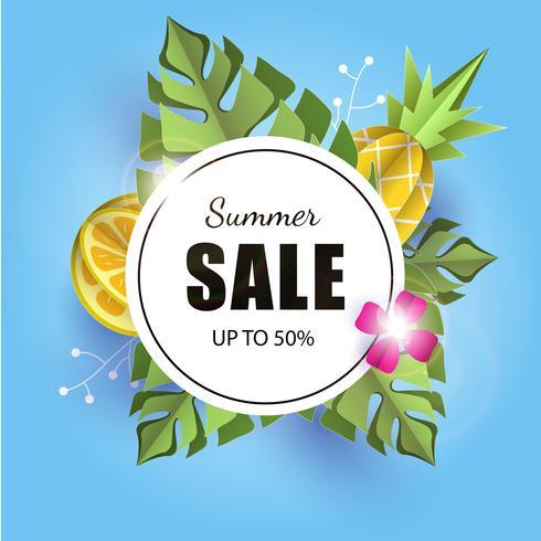 La carta dell'insegna 3d del fondo dell'estate di vettore ha tagliato con l'ananas. Limone. foglie di fiori e palme. Banner per volantini pubblicitari
