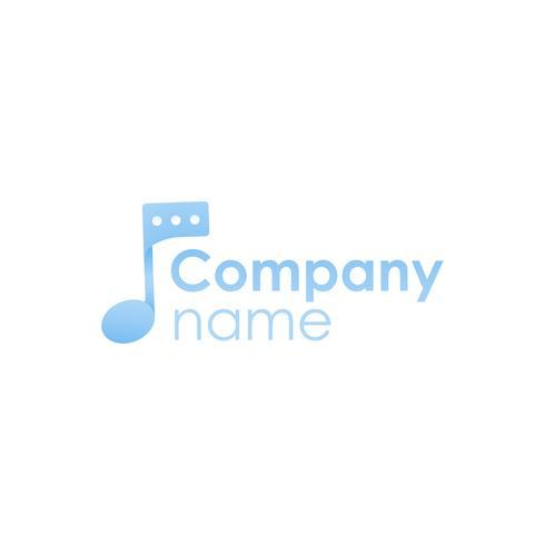Social network per musicisti. Logo sfumato con nota musicale e messaggio. Logotipo piatto vettore