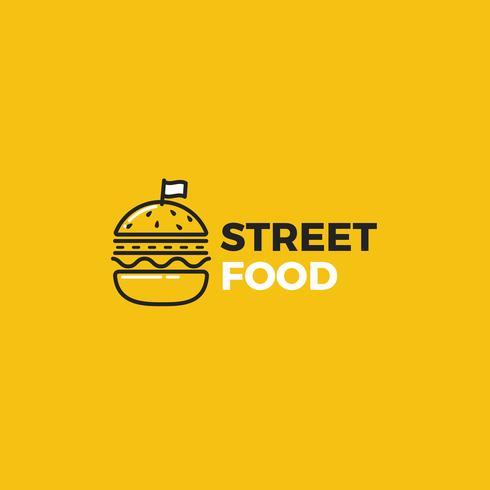 Hamburger di cibo di strada con logo stradale vettore