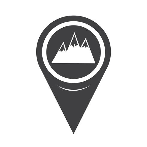 Icona mappa montagne puntatore vettore